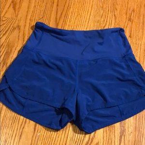 Blue Lululemon high-waisted shorts